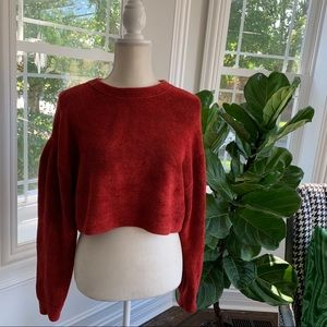 Free People ❤️ Crop Puff Sleeve Sweater ❤️ Size XS